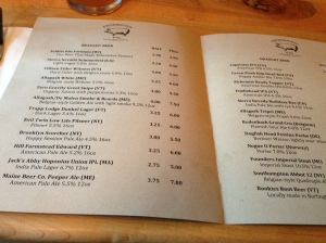 Draft Menu at Prohibition Pig