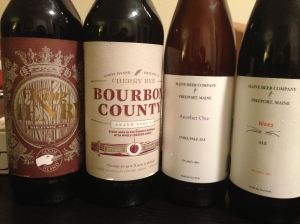 Andrew's haul: King Henry (that I won!), Bourbon County Cherry Rye, MBC's Another One and Weez