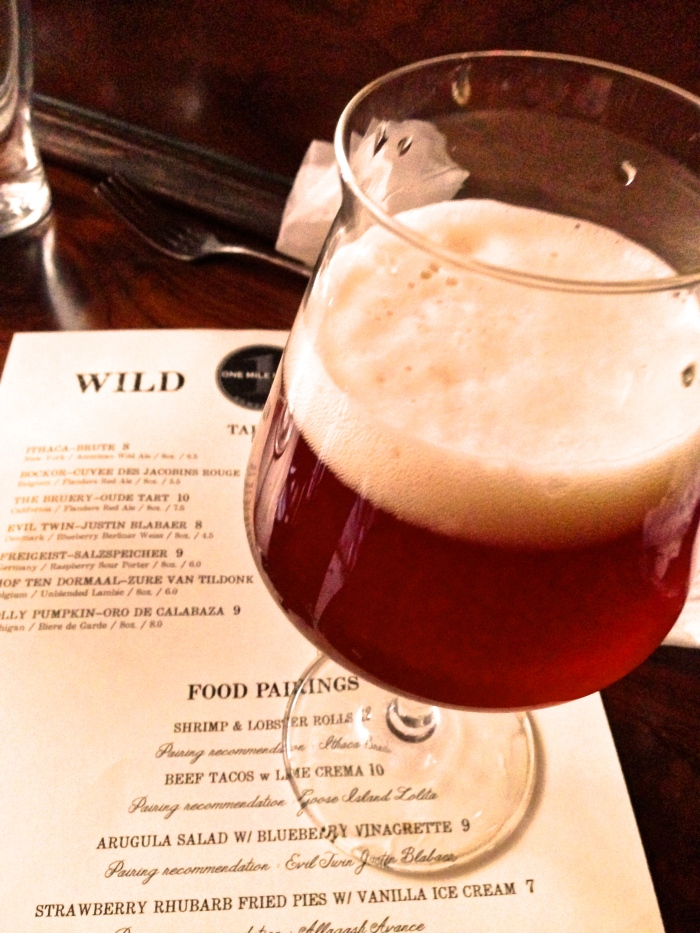 Allagash Avance: Wild Ale Aged with strawberries for three years in bourbon barrels